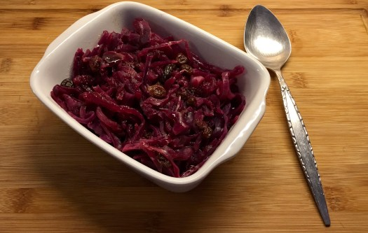 Ready to serve. Colourful, tasty, braised red cabbage