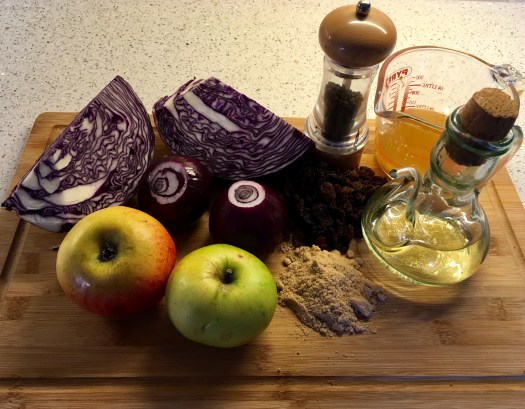 All the ingredients needed to make the perfect, braised, red cabbage