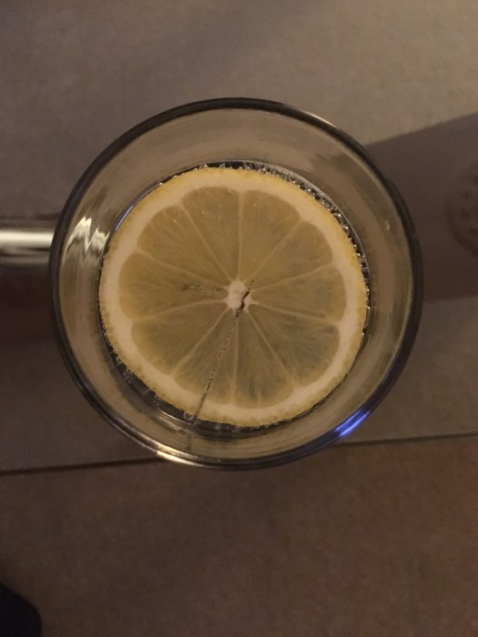 A classic gin and tonic with a slice of lemon