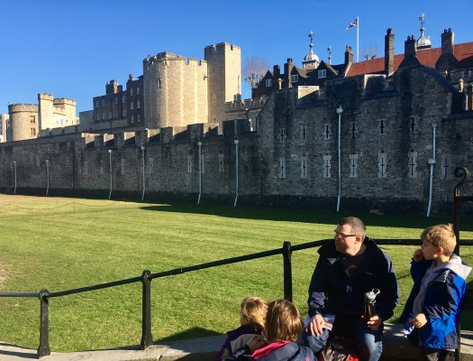 The Tower of London and the moat in glorious sunshine
