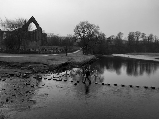 An image of stepping stones spaced across the River Wharfe