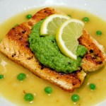 Salmon in Lemon Brodetto w/ Pea Puree