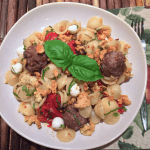 Mini Meatball Orecchiette w/ Roasted Tomatoes & Bread Crumbs