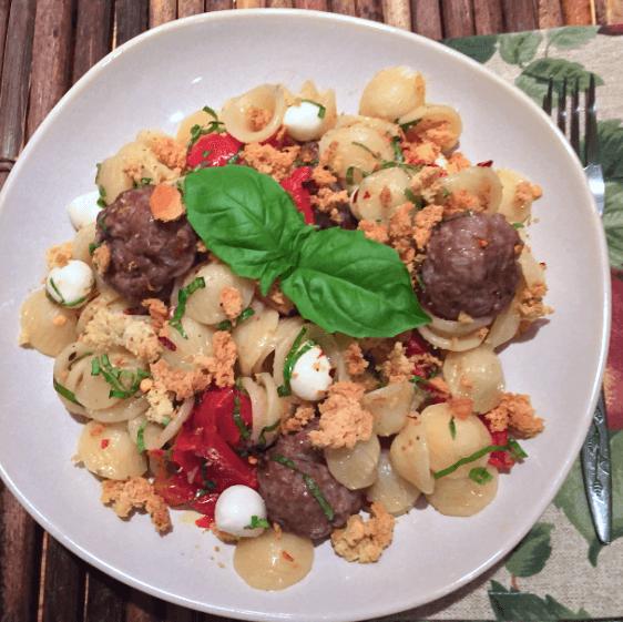 orcchiette meatballs mozzarella tomatoes