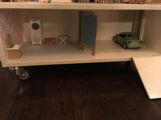Basement laundry room and garage: homemade washer/dryer and screen