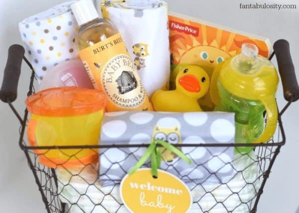 metal basket filled with baby items