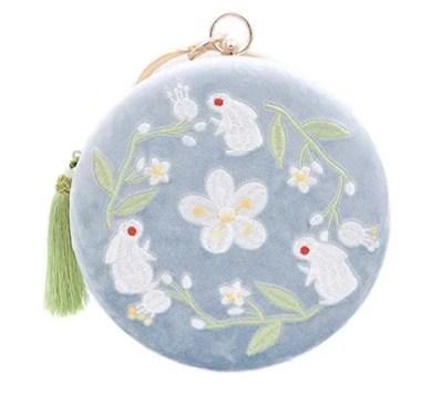 antique styled decorative velvet handbag