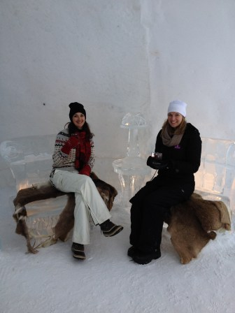Enjoying a drink in the Hotel de Glace (Ice hotel) with my dogsledding teammate, Roberta. This was my 2nd Hotel de Glace visit. The first time, Quinn & I stayed overnight!