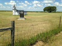 An old prairie church is commemorated on the backroad near Outlook, Saskatchewan.