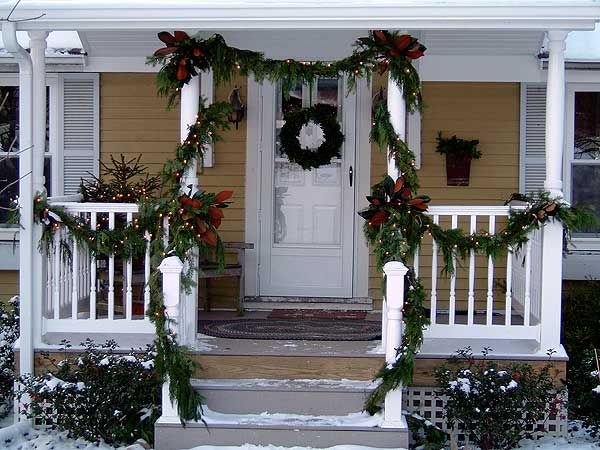 holiday garland and wreath