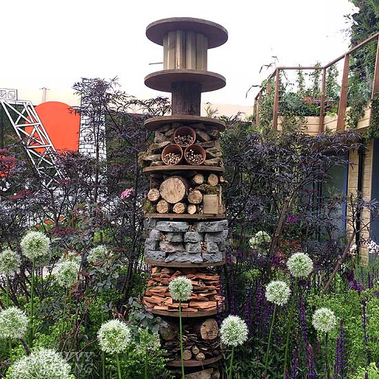 Insect hotel at The RHS Greening Grey Britain Garden
