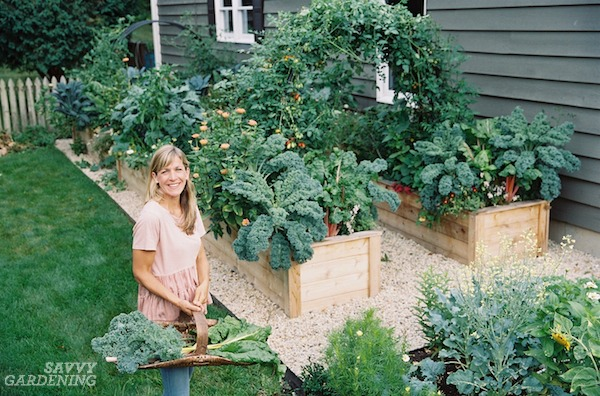 Nicole Burke, author of Kitchen Garden Revival, in her home garden.