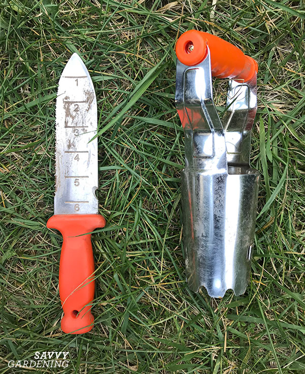 My A.M. Leonard soil knife and my bulb planter—two of my most essential fall tools.