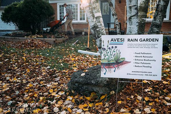 a rain garden sign
