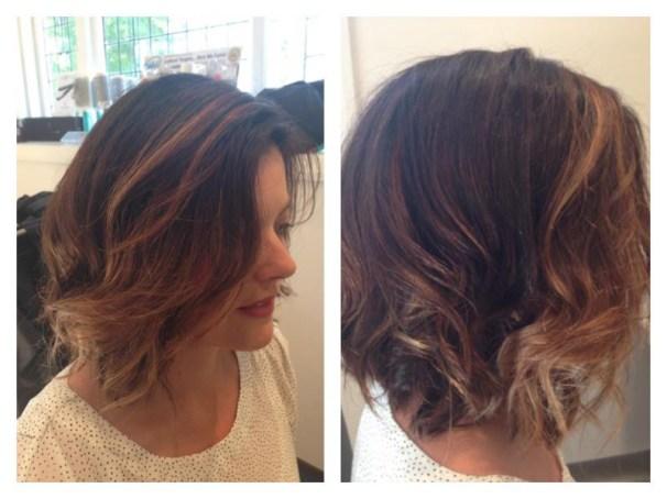 Medium length cut and curl