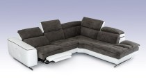 Stargazer Italian Modern Grey Fabric & White Leather Sectional Sofa (7)