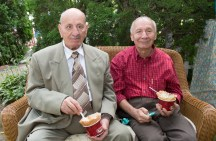 Great Grandpa's Enjoying their Cold Stone Sundaes!