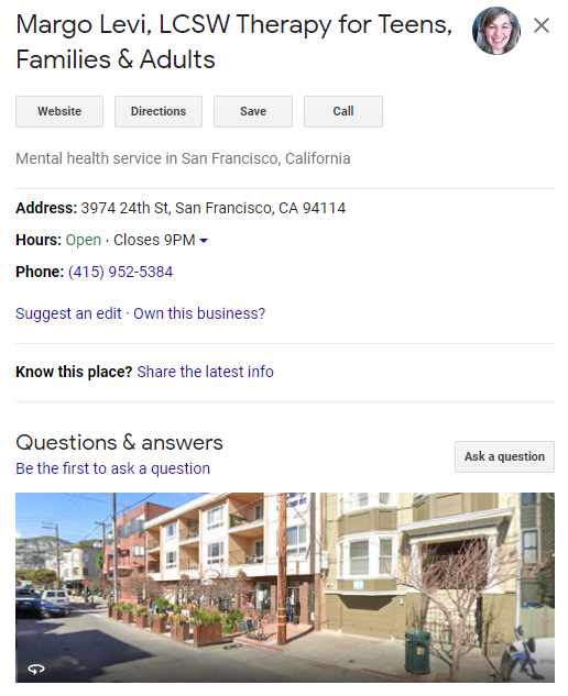 Google my business for therapy practice.