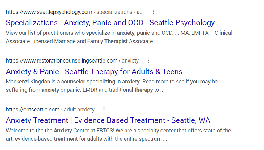 Search engine results showing SEO title and meta descriptions the keyword for counseling website