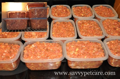 Filled containers and freezer