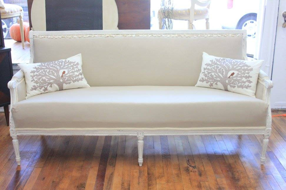 vintage sofa at the salvaged boutique