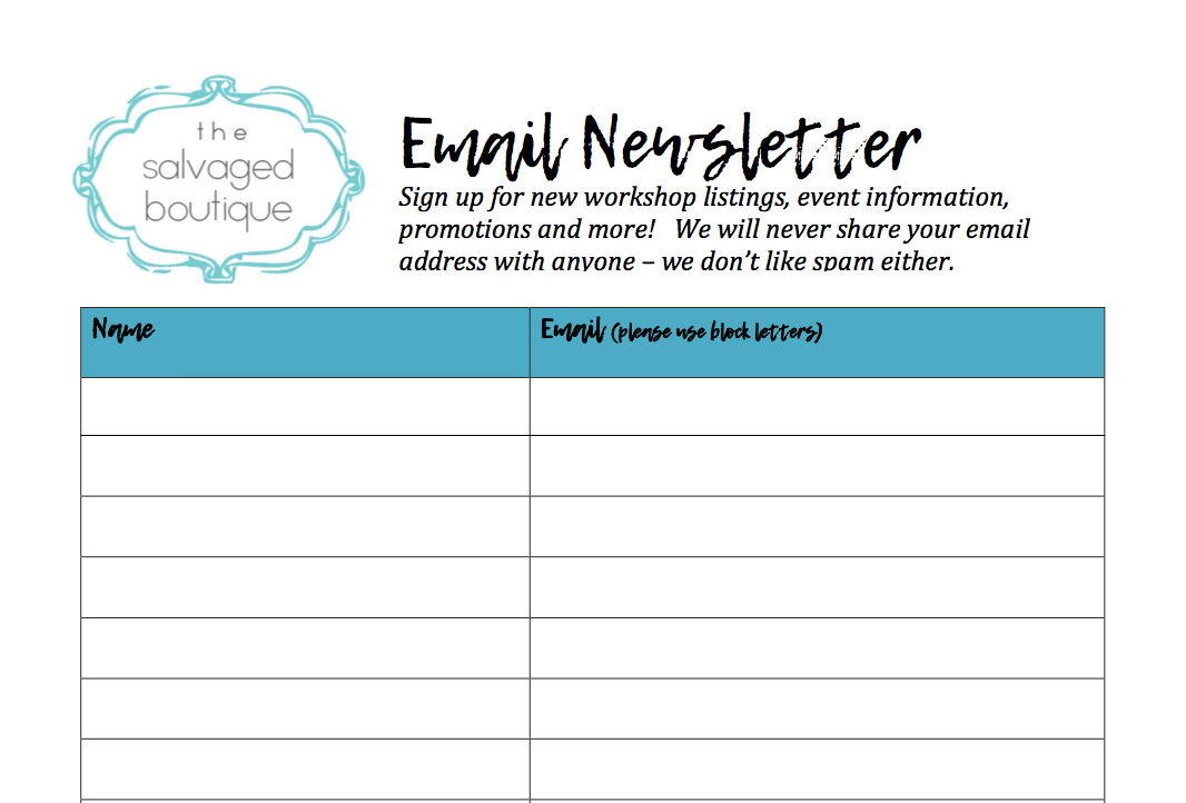 email newsletter list screenshot