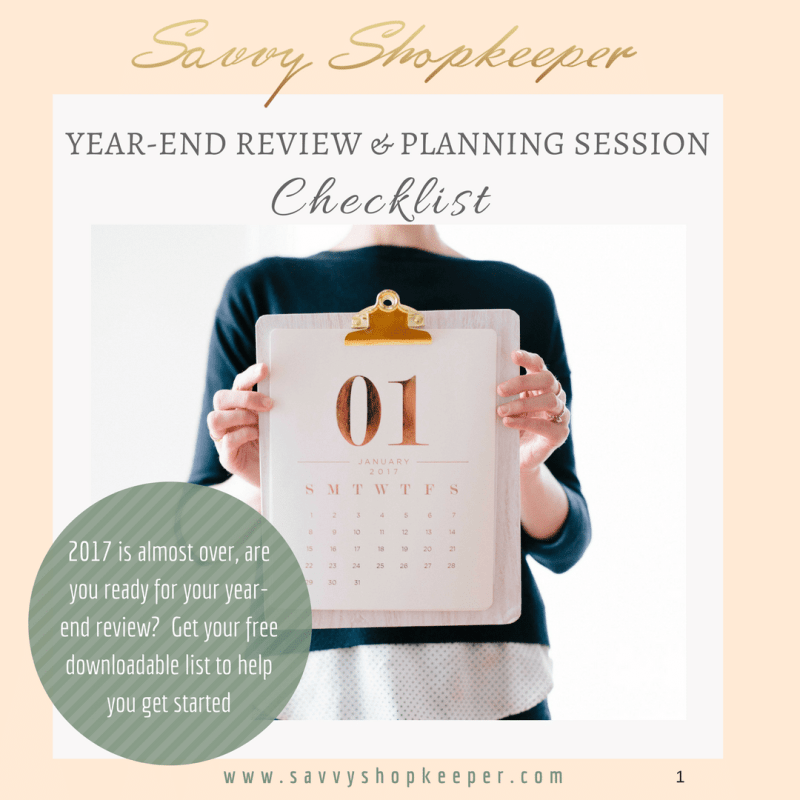 Savvy Shopkeeper Year End Review Checklist