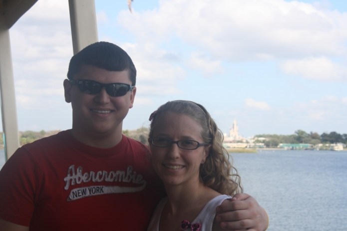 On the ferry going towards Disney World - the happiest place on earth!