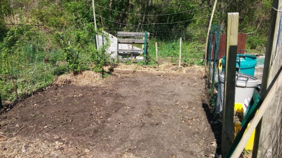 Here's the before picture! We made 3 new raised beds in the garden and loaded them up with new dirt (I bought 2 yards of Leaf-Gro and mixed that with stuff from the chicken coop and vermiculite.)