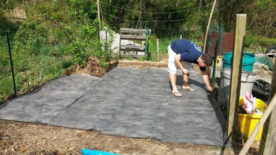 Cloth put down to help block weeds
