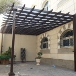 مظلات حدائق حديد شكل خشبي في الرياض