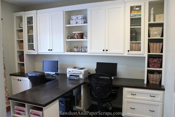 Attrayant Home Office Wood Countertops White Built Ins