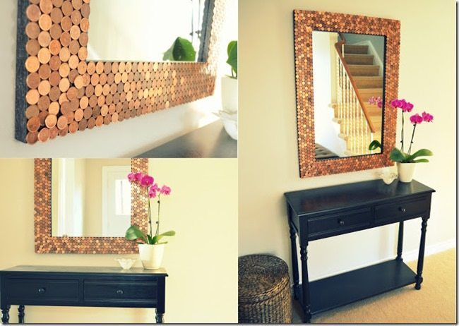 Update Your Bathroom with a DIY penny mirror