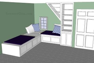 Double Daybed with Trundle- sawdustgirl.com