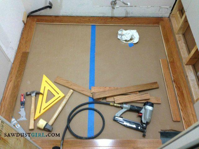 Installing patterened wood floors - SawdustGirl.com