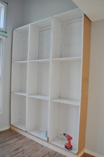 DIY library built in cabinets