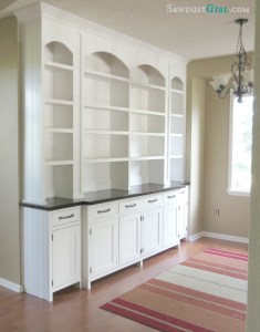 Dining room built-in buffet - SawdustGirl.com
