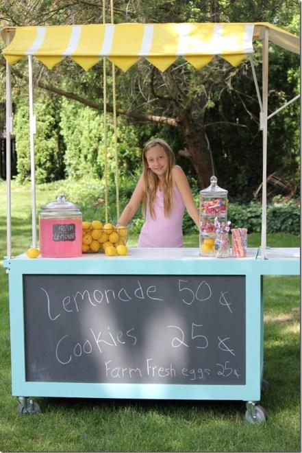 Spray Painted Lemonade Stand Canopy