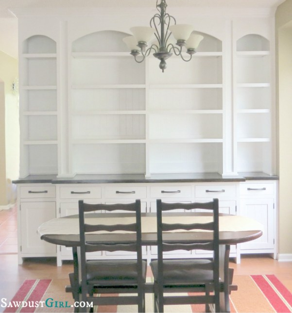 Built-in Dining Room Buffet- SawdustGirl.com