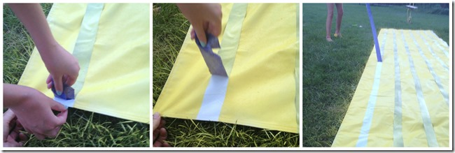 material spray paint to make striped lemonade stand canopy