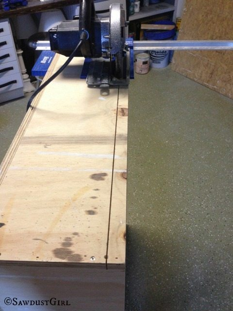 using Kreg RipCut to trim down an assembled cabinet