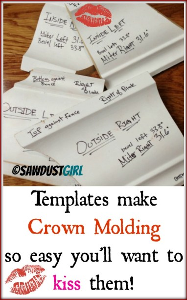 crown molding made simple with templates - https://sawdustgirl.com