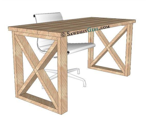 X leg Office Desk plans