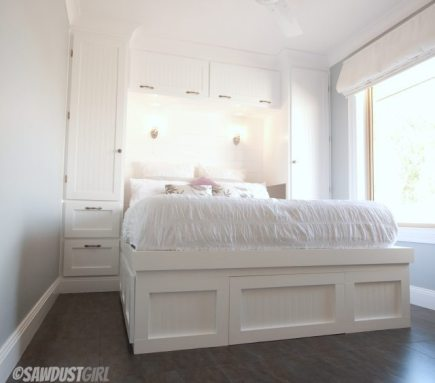 built-in platform storage bed