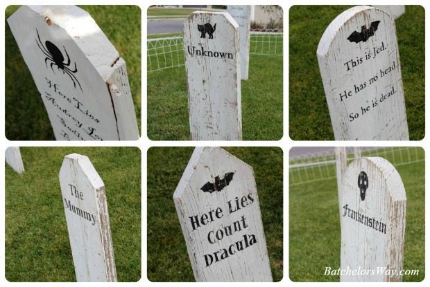 Halloween Graveyard with diy headstones