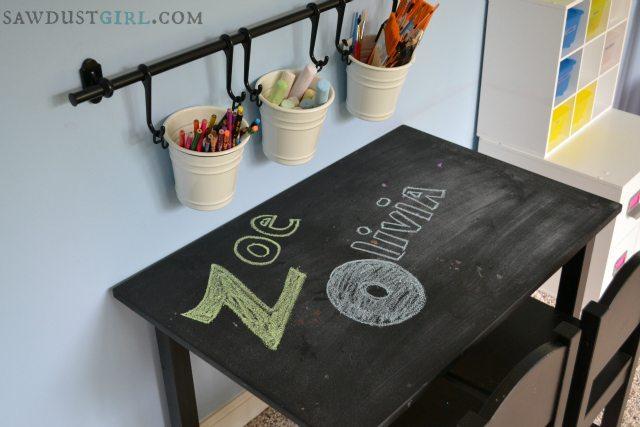 Chalkboard desk in playroom. https://sawdustdiaries.com