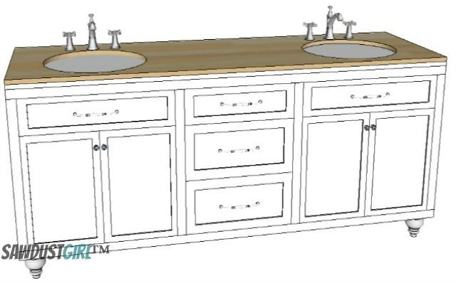 double vanity with center drawers - free plans - sawdust girl®