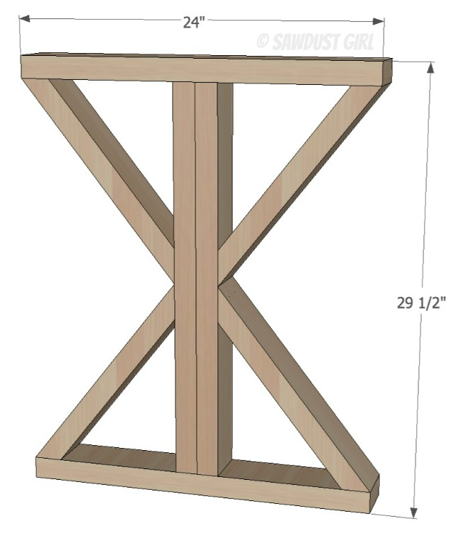 DIY X Base Dining Table Free Plans Sawdust Girl