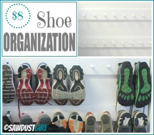 Super cheap and easy shoe organization from @Sawdust Girl.