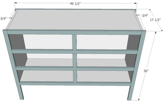 Free Plans to build an apothecary console table from Sawdust Girl.